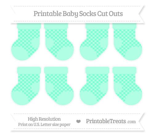 Free Aquamarine Checker Pattern Small Baby Socks Cut Outs