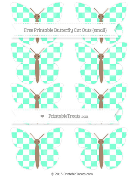 Free Aquamarine Checker Pattern Small Butterfly Cut Outs