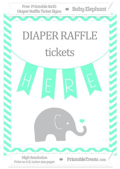 Free Aquamarine Chevron Baby Elephant 8x10 Diaper Raffle Ticket Sign