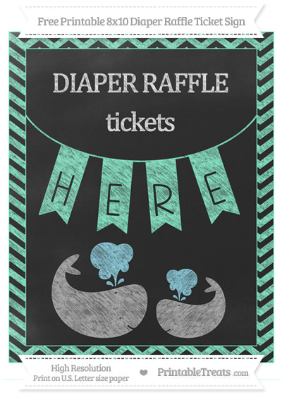 Free Aquamarine Chevron Chalk Style Baby Whale 8x10 Diaper Raffle Ticket Sign