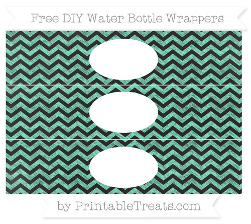 Free Aquamarine Chevron Chalk Style DIY Water Bottle Wrappers