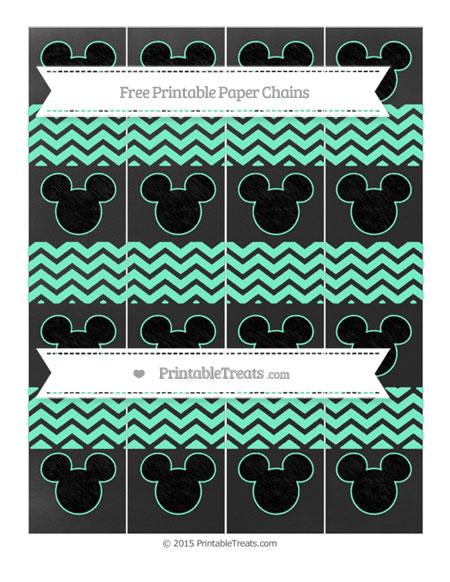 Free Aquamarine Chevron Chalk Style Mickey Mouse Paper Chains