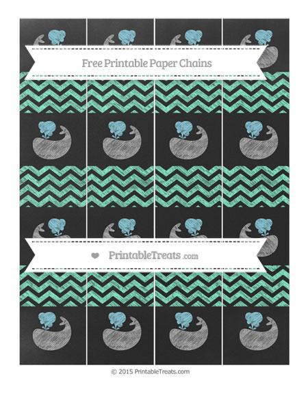 Free Aquamarine Chevron Chalk Style Whale Paper Chains