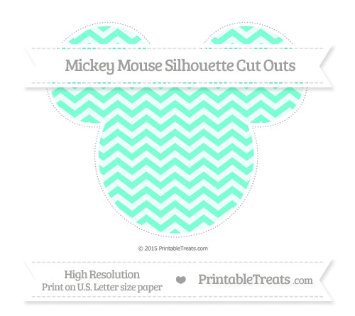 Free Aquamarine Chevron Extra Large Mickey Mouse Silhouette Cut Outs