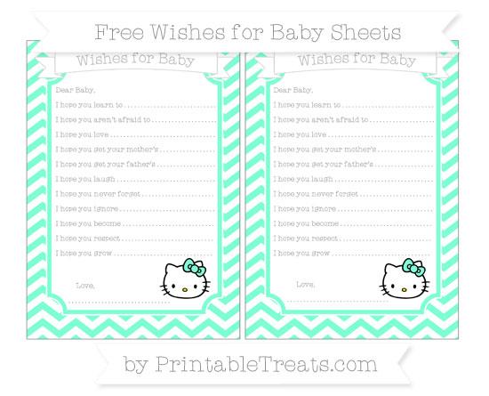 Free Aquamarine Chevron Hello Kitty Wishes for Baby Sheets