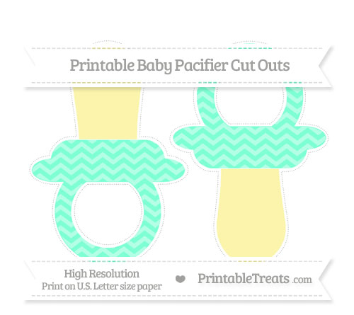 Free Aquamarine Chevron Large Baby Pacifier Cut Outs