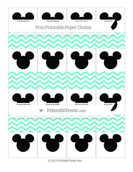 Free Aquamarine Chevron Mickey Mouse Paper Chains