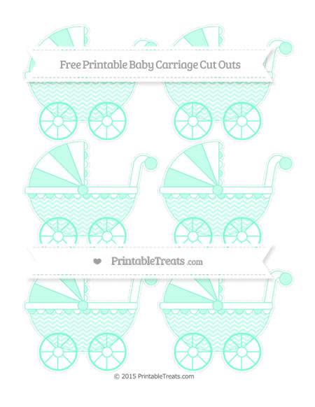 Free Aquamarine Chevron Small Baby Carriage Cut Outs