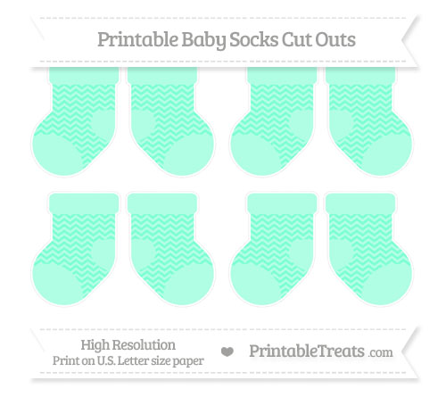 Free Aquamarine Chevron Small Baby Socks Cut Outs