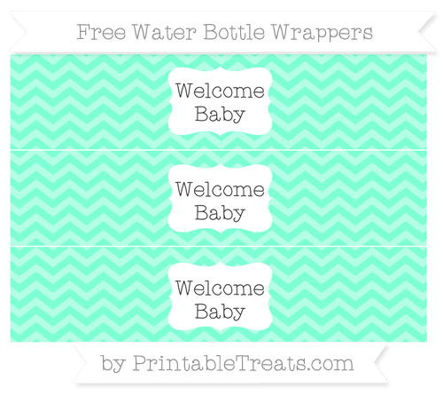 Free Aquamarine Chevron Welcome Baby Water Bottle Wrappers