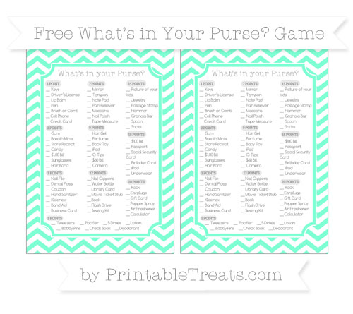 Free Aquamarine Chevron What's in Your Purse Baby Shower Game
