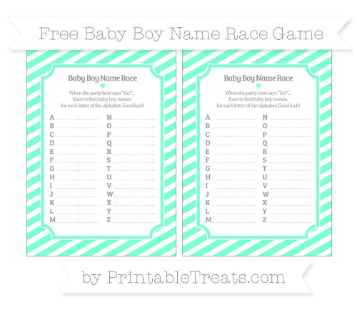 Free Aquamarine Diagonal Striped Baby Boy Name Race Game