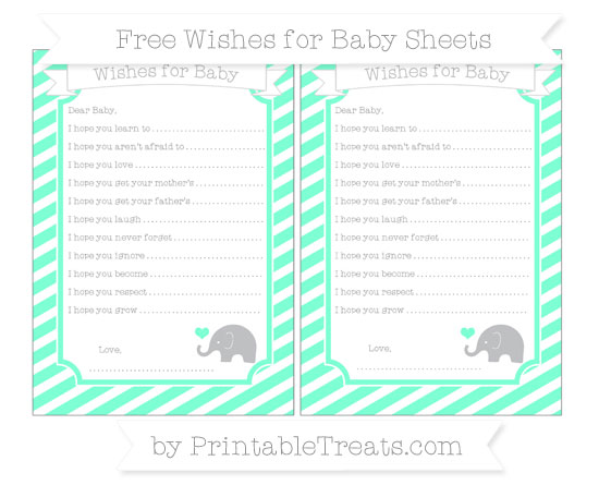 Free Aquamarine Diagonal Striped Baby Elephant Wishes for Baby Sheets