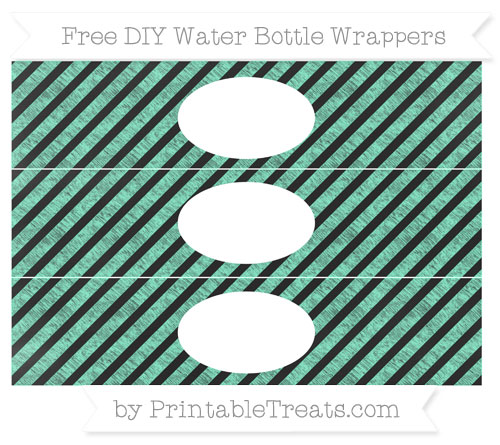 Free Aquamarine Diagonal Striped Chalk Style DIY Water Bottle Wrappers