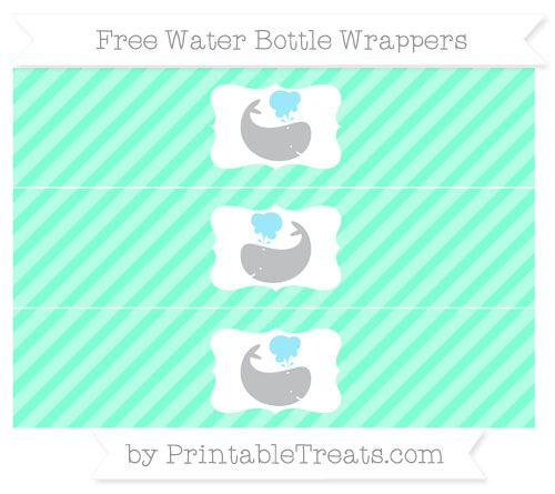 Free Aquamarine Diagonal Striped Whale Water Bottle Wrappers