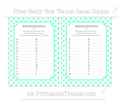 Free Aquamarine Dotted Pattern Baby Boy Name Race Game