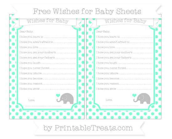 Free Aquamarine Dotted Pattern Baby Elephant Wishes for Baby Sheets