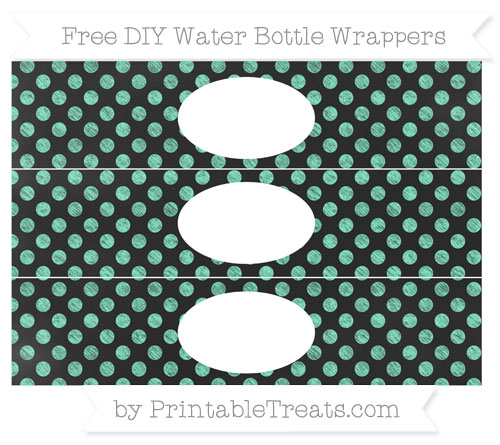 Free Aquamarine Dotted Pattern Chalk Style DIY Water Bottle Wrappers