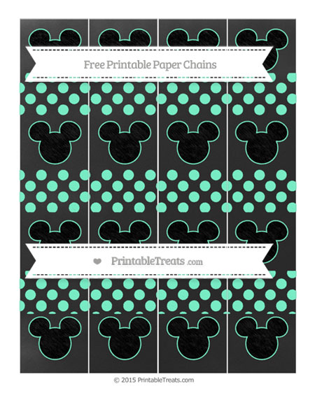 Free Aquamarine Dotted Pattern Chalk Style Mickey Mouse Paper Chains