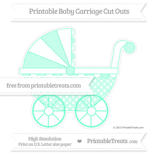 Free Aquamarine Dotted Pattern Extra Large Baby Carriage Cut Outs