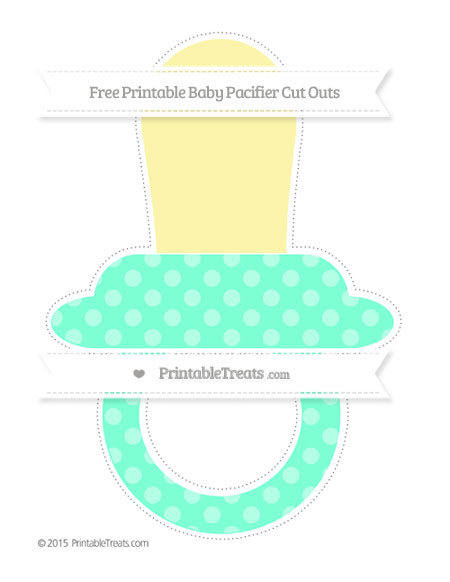 Free Aquamarine Dotted Pattern Extra Large Baby Pacifier Cut Outs