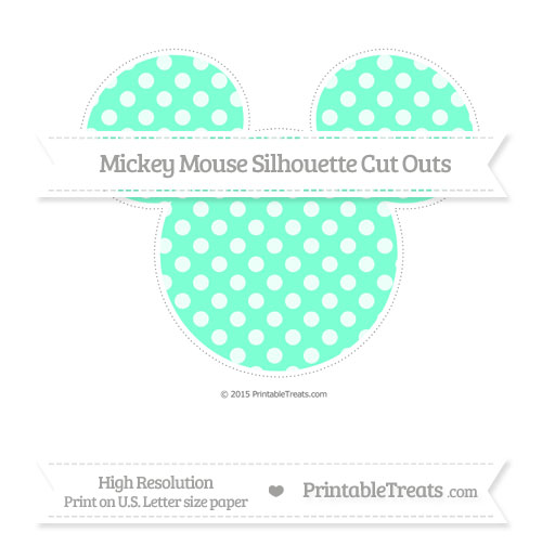 Free Aquamarine Dotted Pattern Extra Large Mickey Mouse Silhouette Cut Outs