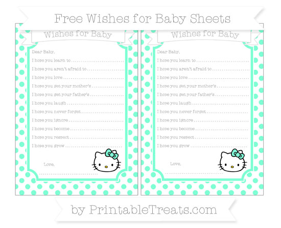 Free Aquamarine Dotted Pattern Hello Kitty Wishes for Baby Sheets