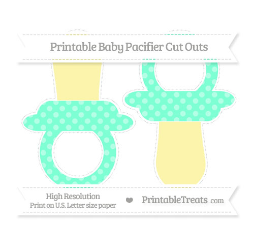 Free Aquamarine Dotted Pattern Large Baby Pacifier Cut Outs