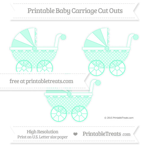 Free Aquamarine Dotted Pattern Medium Baby Carriage Cut Outs