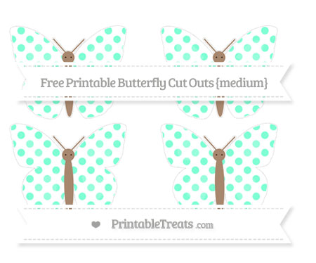 Free Aquamarine Dotted Pattern Medium Butterfly Cut Outs