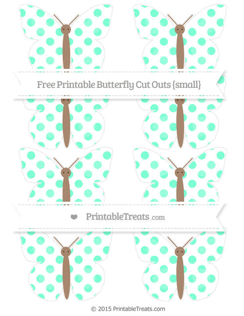 Free Aquamarine Dotted Pattern Small Butterfly Cut Outs