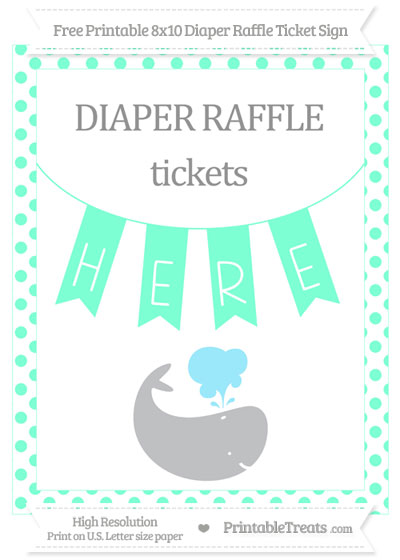 Free Aquamarine Dotted Whale 8x10 Diaper Raffle Ticket Sign