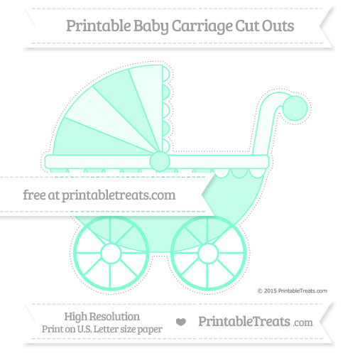 Free Aquamarine Extra Large Baby Carriage Cut Outs