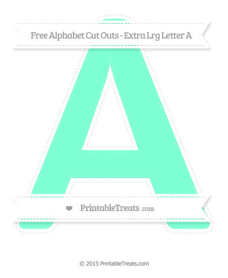 Free Aquamarine Extra Large Capital Letter A Cut Outs