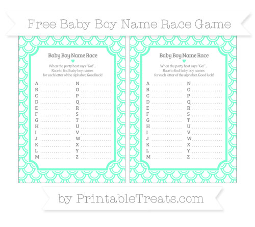 Free Aquamarine Fish Scale Pattern Baby Boy Name Race Game