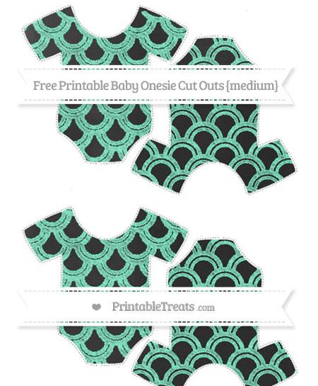 Free Aquamarine Fish Scale Pattern Chalk Style Medium Baby Onesie Cut Outs