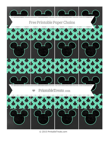 Free Aquamarine Fish Scale Pattern Chalk Style Mickey Mouse Paper Chains