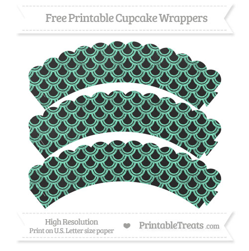 Free Aquamarine Fish Scale Pattern Chalk Style Scalloped Cupcake Wrappers