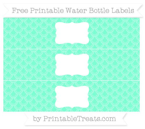 Free Aquamarine Fish Scale Pattern Water Bottle Labels