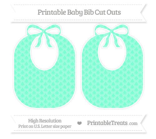 Free Aquamarine Fish Scale Pattern Large Baby Bib Cut Outs
