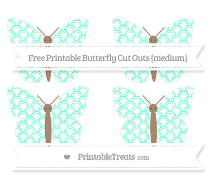 Free Aquamarine Fish Scale Pattern Medium Butterfly Cut Outs