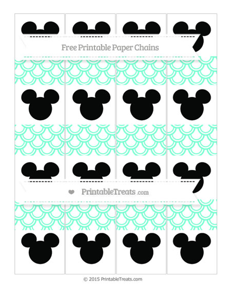 Free Aquamarine Fish Scale Pattern Mickey Mouse Paper Chains