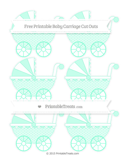 Free Aquamarine Fish Scale Pattern Small Baby Carriage Cut Outs