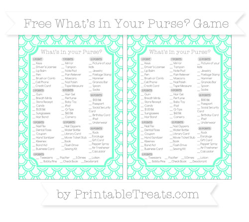 Free Aquamarine Fish Scale Pattern What's in Your Purse Baby Shower Game