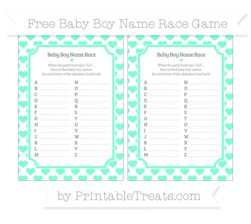 Free Aquamarine Heart Pattern Baby Boy Name Race Game