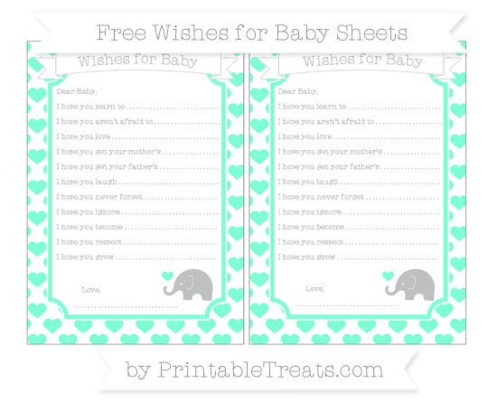 Free Aquamarine Heart Pattern Baby Elephant Wishes for Baby Sheets