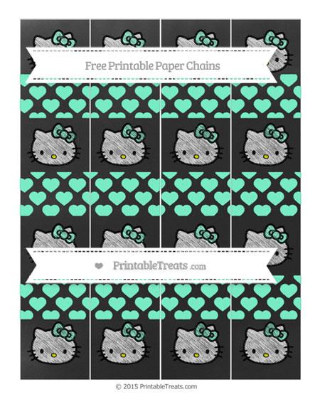 Free Aquamarine Heart Pattern Chalk Style Hello Kitty Paper Chains