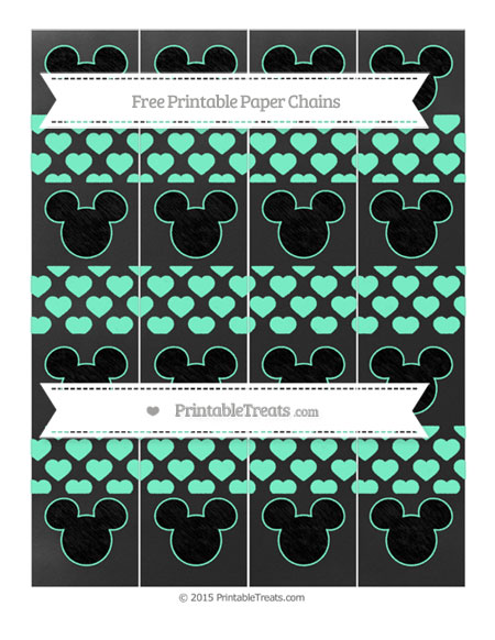 Free Aquamarine Heart Pattern Chalk Style Mickey Mouse Paper Chains