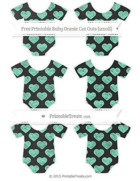 Free Aquamarine Heart Pattern Chalk Style Small Baby Onesie Cut Outs