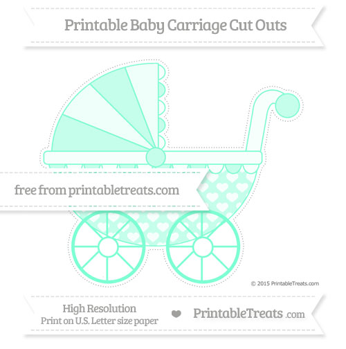 Free Aquamarine Heart Pattern Extra Large Baby Carriage Cut Outs